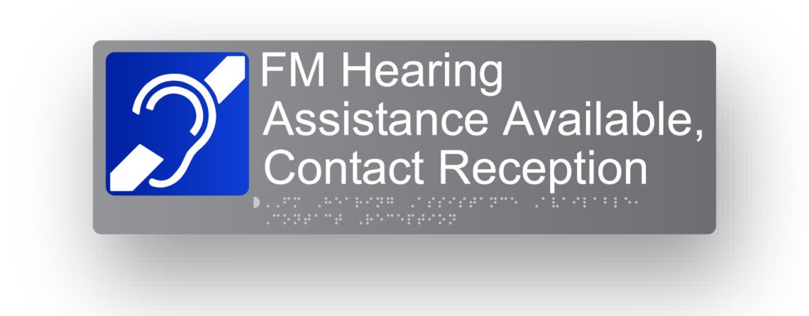 FM Hearing System Grey Aluminium Braille Sign
