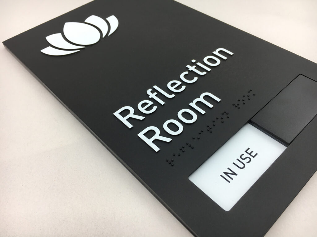 Custom Moulded Acrylic Braille Sign with built in Slider