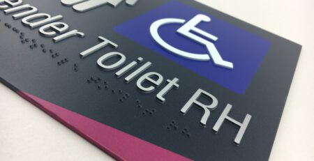 All Gender Accessible Toilet Braille Sign