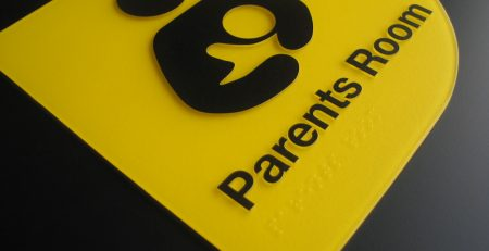 Yellow Moulded Acrylic Braille Sign