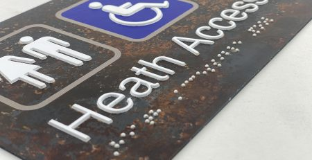 Distressed Steel Braille Sign