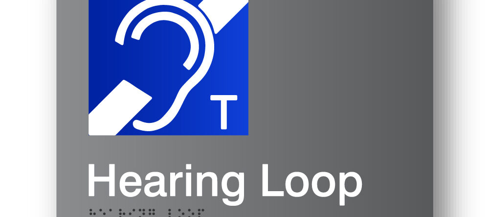 Hearing Loop Grey Acrylic Braille Sign